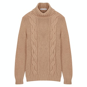 Natural Twin-Cable Roll Neck Sweater
