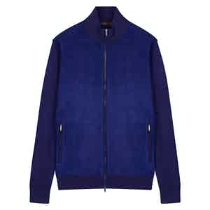 Blue Cashmere Knitted Bomber Jacket