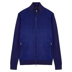 Blue Cashmere Knitted Bomber Jacket