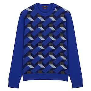 Blue Cashmere Knitted Crewneck Jumper