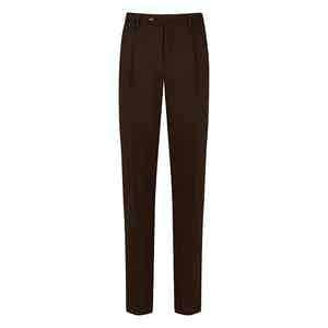 Brown Wool Reverse-Facing Pleated Trousers