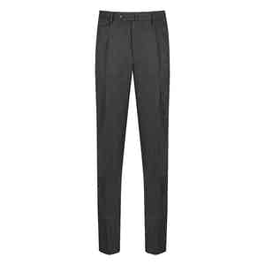 Grey Wool Reverse-Facing Pleated Trousers