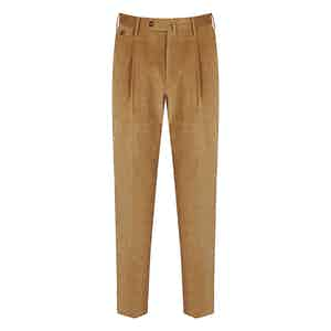 Beige Corduroy Gentleman Fit Pleated Trousers