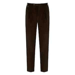 Brown Corduroy Gentleman Fit Pleated Trousers
