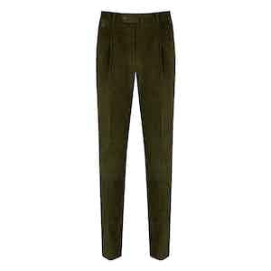 Green Corduroy Gentleman Fit Pleated Trousers