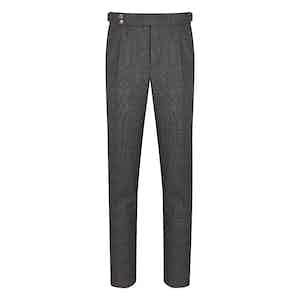 Grey Wool Birdseye Gentleman Fit Pleated Trouser
