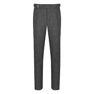 Grey Wool Birdseye Gentleman Fit Pleated Trouser