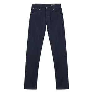 Dark Blue Cotton Denim Jeans