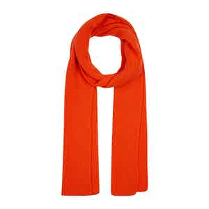 Orange Cashmere Knit Scarf