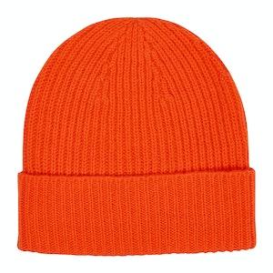 Orange Cashmere Knit Beanie Hat