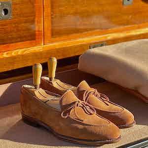 The Alexander Kraft Monte Carlo brown suede string loafers