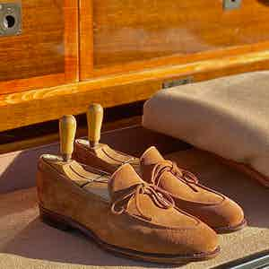 The Alexander Kraft Monte Carlo brown suede string loafers