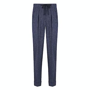 Stretch Aleks Dark Blue Pleated Wool Mesh Drawstring Trousers