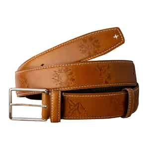 Cognac Calf Leather Stainless Steel Buckle Poya Belt