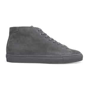 Ash Grey Suede High-Top Sneakers Massimo