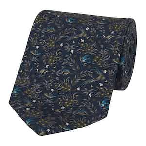 Blue and Green Silk Bird Printed Tie