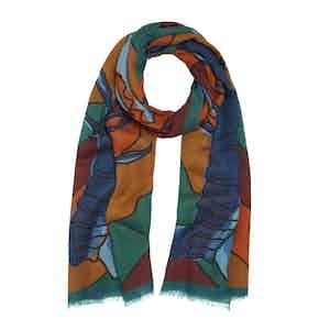 Multicoloured Wool and Silk Scorpian Print Scarf