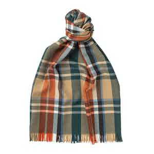 Camel Merino Wool Plaid Lightweight Scarf