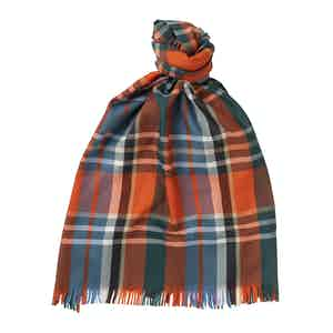 Citrus Merino Wool Plaid Lightweight Scarf