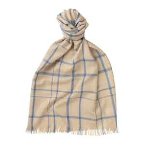 Camel and Blue Merino Wool Digital Check Scarf