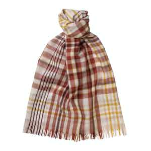 Terracotta Merino Wool Lightweight Madras Scarf