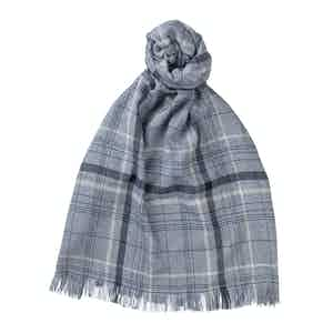 Airforce Blue Cashmere and Silk Scarf