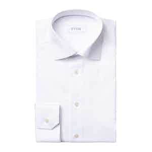 White Cotton Slim Fit Love Embroidery Dress Shirt