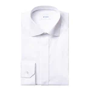 White Cotton Slim Fit Love Embroidery Tuxedo Shirt