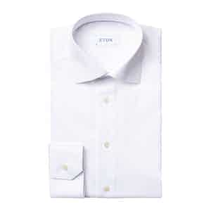 White Cotton Contemporary Fit Love Embroidery Dress Shirt