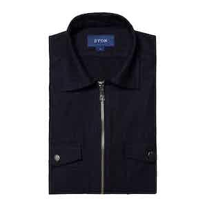 Dark Denim Twill Cotton Zipper Overshirt