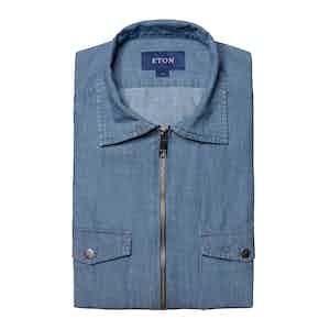 Light Denim Twill Cotton Zipper Overshirt