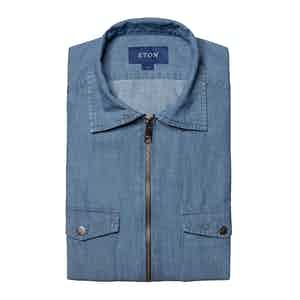 Light Denim Twill Cotton Zipper Overshirt