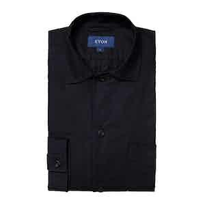 Dark Blue Heavy Oxford Cotton Overshirt