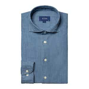 Light Blue Cotton Denim Contemporary Fit Shirt
