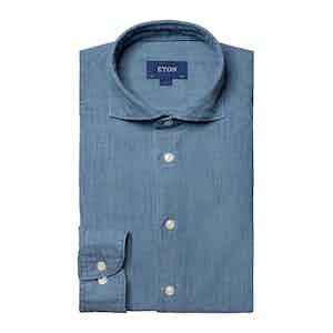 Light Blue Cotton Denim Contemporary Fit Shirt
