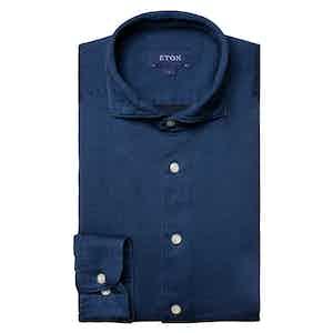 Dark Blue Cotton Satin Indigo Slim Fit Shirt