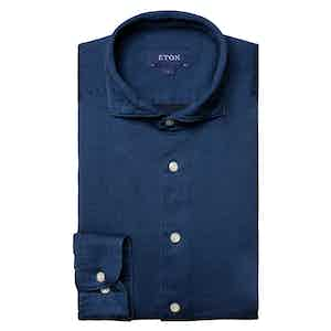 Dark Blue Cotton Satin Indigo Slim Fit Shirt