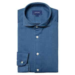 Light Blue Cotton Satin Indigo Slim Fit Shirt