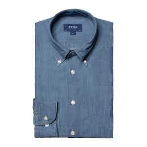 Light Blue Denim Cotton Slim Fit Shirt