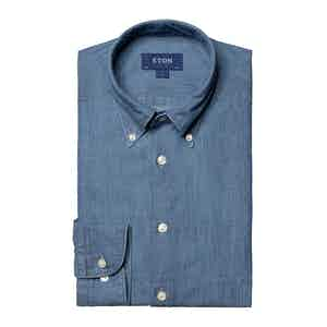 Light Blue Denim Cotton Slim Fit Shirt