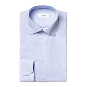 Light Blue Cotton Poplin Striped Contemporay Fit Shirt