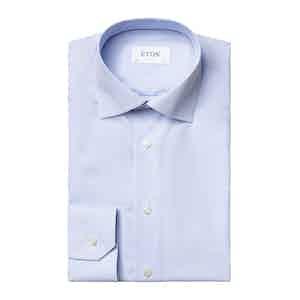 Light Blue Cotton Poplin Striped Slim Fit Shirt