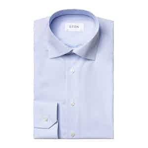 Light Blue Cotton Poplin Striped Slim Fit Shirt