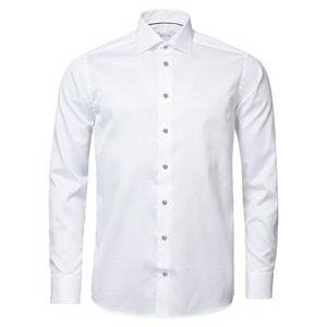 White Cotton Twill Slim Fit With Contrast Grey Contrast Buttons Shirt