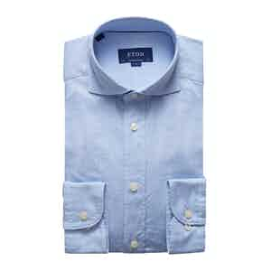 Light Blue Royal Oxford Cotton Contemporary Fit Shirt