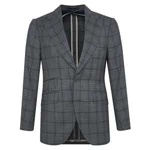 Grey Wool Prince of Wales Check Single-Breasted Suit