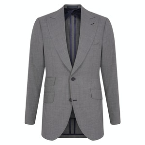 Grey Wool Micro Houndstooth Single-Breasted Suit
