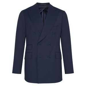 Navy Blue Wool Shadow Striped Double-Breasted Suit