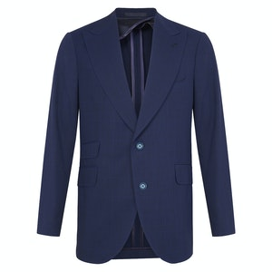 Blue Wool Prince of Wales Single-Breasted Suit
