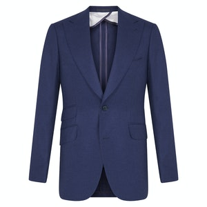 Navy Blue Cashmere and Silk Plain Single-Breasted Jacket